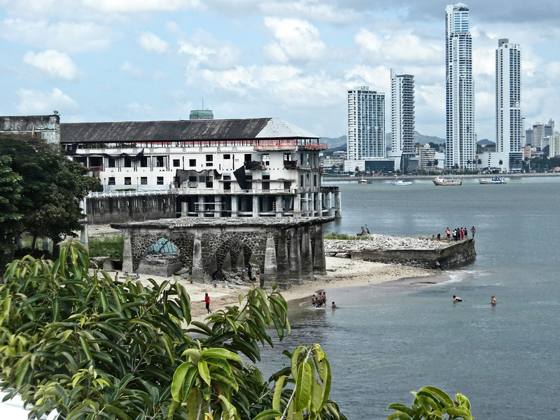 View of high rises in new Panama City, from the old part of Panama City.