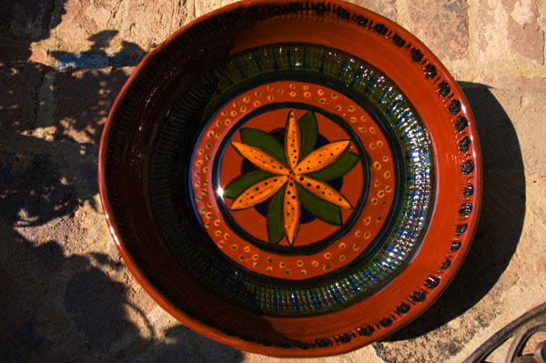 """14"""" slab and mold red clay bowl"""