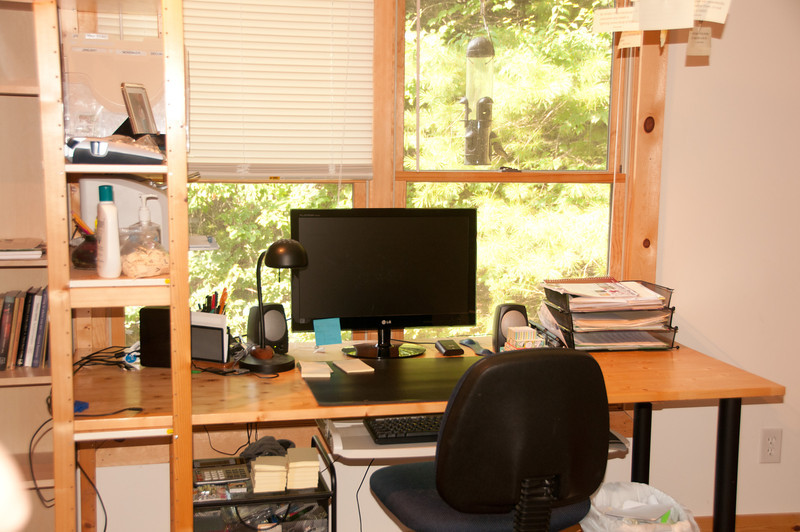 with his wife's nice neat workspace