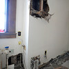 The area in a room, that formerly was the church office, where the water damage originated that occurred due to frozen pipes that burst recently.<br /> SENTINEL & ENTERPRISE / BRETT CRAWFORD