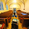 Machines are used on Thursday in a secondary sanctuary at Rollstone Congregational Church where flooding occurred at the church after frozen pipes burst recently causing water damage. A carpet on the aisle had to be removed.<br /> SENTINEL & ENTERPRISE / BRETT CRAWFORD