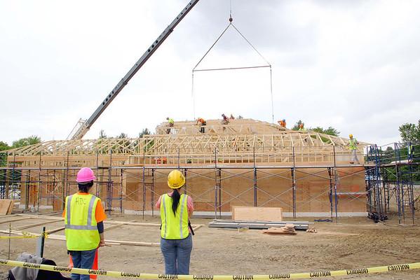 Volunteers building kingdom hall