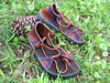 Tobacco Two Tab Sandals, Purple Deerskin Trim, Thin Cushi, Spikeless Golf Soling