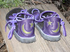 You can never have too much purple!  So says I, and many other folks I have had the pleasure of meeting.  These purple 2 Tab sandals, are trimmed in purple, and have an inset of a crescent moon and star on the heel.  The soling is the thin cushi midsole with the Spikeless Golf Vibram soling.  It's a purple thing!