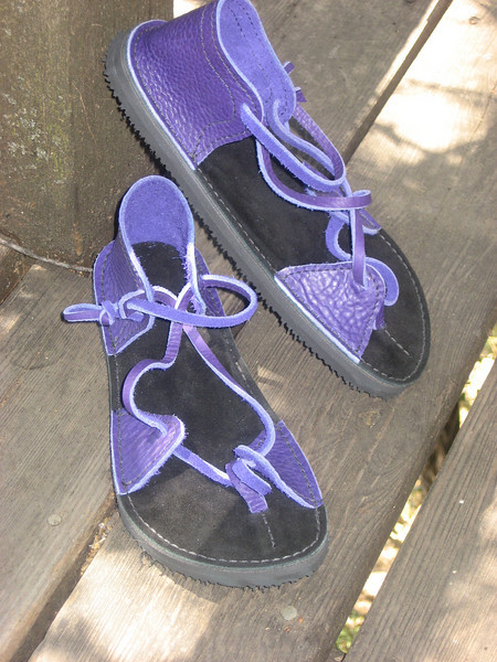 Purple Two Tab Sandals, Thin Cushi, Spikeless Golf Vibram Soling