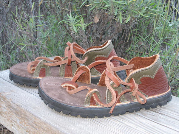 Tobacco Buffalo Four Tab Sandals, Olive Green Deerskin Trim, Thick Cushi Midsole, Vibram Kletterlift Soling
