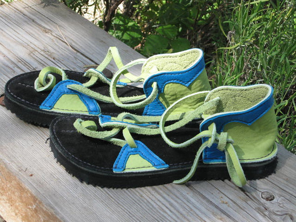 Color for Susan!  Lime Green 2 Tab sandals, with Turquoise Deerskin trim.