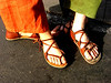 "Michael and Maggie - Feet that talk their walk.<br /> Maggie is wearing a 2 Tab Sandal in Tobacco with Vibram Soling, Michael has a 4 Tab Sandal with Conveyor Belt soling.<br /> Check out The Fruit Tree Tour at  <a href=""http://www.commonvision.org"">http://www.commonvision.org</a>, good people."