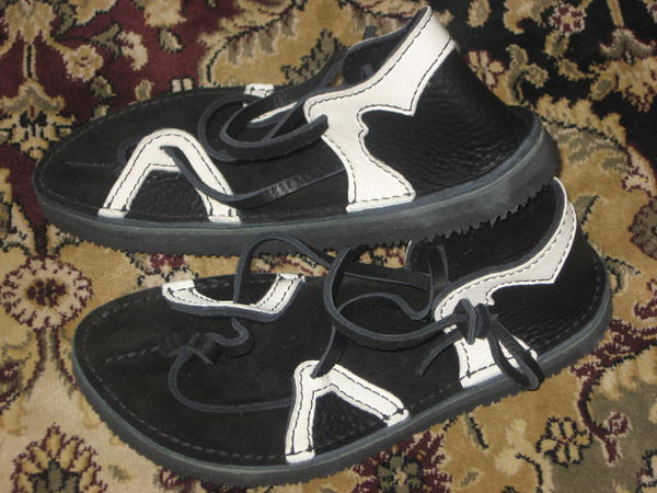Black Two Tab Sandals, White Deerskin Trim, Thick Cushi Midsole, Spikeless Golf Vibram Soling