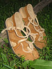 Two Tab Sandals, Sand Bullhide, Dusk Deerskin Trim, Spikeless Golf Vibram Soling