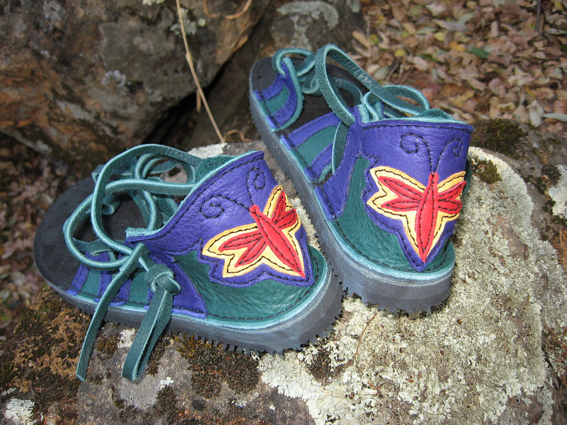 Four Tab Sandals, Green Bullhide with Purple Deerskin Trim, Dragonfly Applique on Heel, Thin Cushi Midsole, Spikeless Golf Vibram Soling