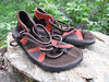 Chocolate 2 tab sandals, with rust deerskin trim, soling is Newflex Vibram.