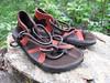 Chocolate 2 tab sandals, with rust deerskin trim, soling is Newflex Vibram.