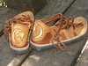 Tobacco Four Tab Sandals, Dusk Deerskin Trim, Inset on Heel, Crescent Moon in White Deerskin,  Eight Point Star in Gold Deerskin