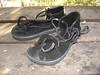 Black Two Tab Sandals, Thin Cushi, Spikeless Golf Vibram Soling