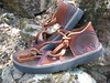 Tobacco Two Tab Sandals, Redwood Deerskin Trim, Wave on Heel in Chocolate with Redwood Deerskin Underlay, Thick Cushi, Spikeless Golf Vibram Soling.
