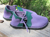 And more color for the color lady!  Susan's Closed Toe Sandals are lavendar bullhide with forest green deerskin trim.