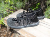 John likes black shoes, and so he shall have them!  Black 4 Tab sandals, with black deerskin trim,  Cushi midsole, Spikeless Golf soling.