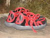 Sisters in Peace... <br /> Black Four Tab Sandals, Red Deerskin Trim, Thick Cushi, Spikeless Golf Vibram Soling