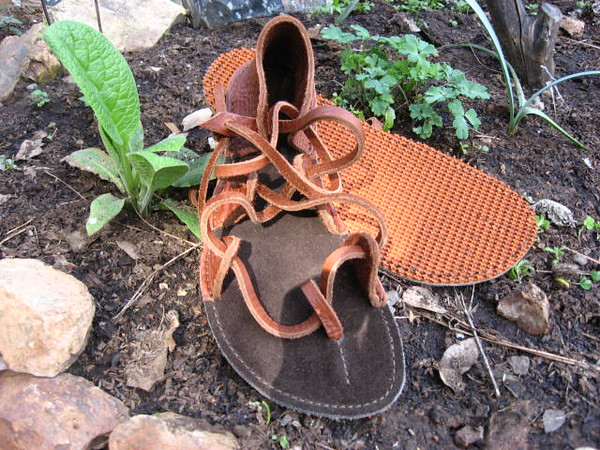 Tobacco Four Tab Sandals, Conveyor Belt Soling