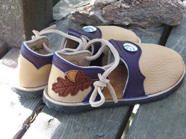 Sand Closed Toe Sandals, Eggplant Purple Deerskin Trim, Silver Quicksilver Hawk Buttons on front, Appliqued Oak Leaf and Acorn on Heels in Burnt Cork and Dusk Deerskin, Foam Footbed with Arches, Spikeless Golf Vibram Sole.