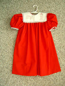 red pique yoke dress with shadow embroidery on collar
