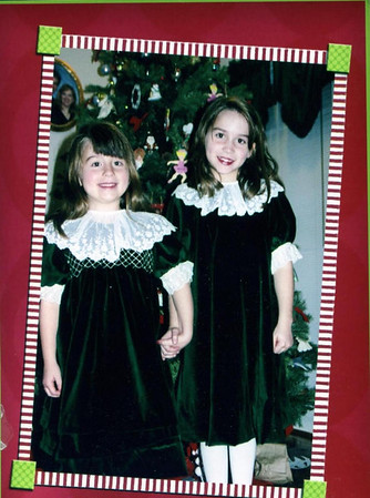 Merris and Brooke in hunter green velvet dresses with detachable collars made of English netting.