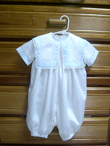 romper with sailor collar made in white satin batiste trimmed with tatting