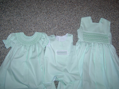 coordinating Easter outfits made from mint green pique, a bishop, a short jumper and a  sundress