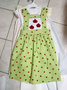jumper dress made from green pique with ladybugs smocked
