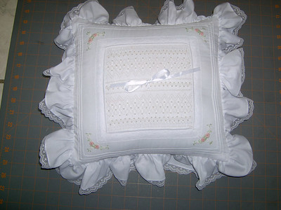 ring bearers pillow smocked with pearls