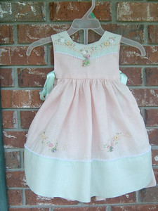 seafoam and pink linen pinafore sun suit