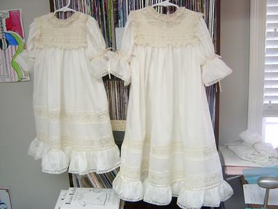 sisters flower girl dresses, heirloom dresses made from ecru swiss nelona with ecru lace