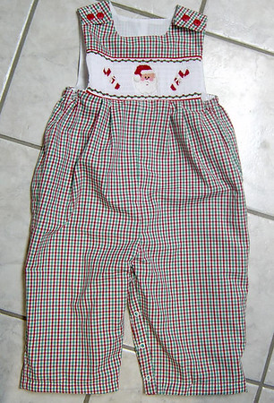 boys long jumper made from red/green/white check