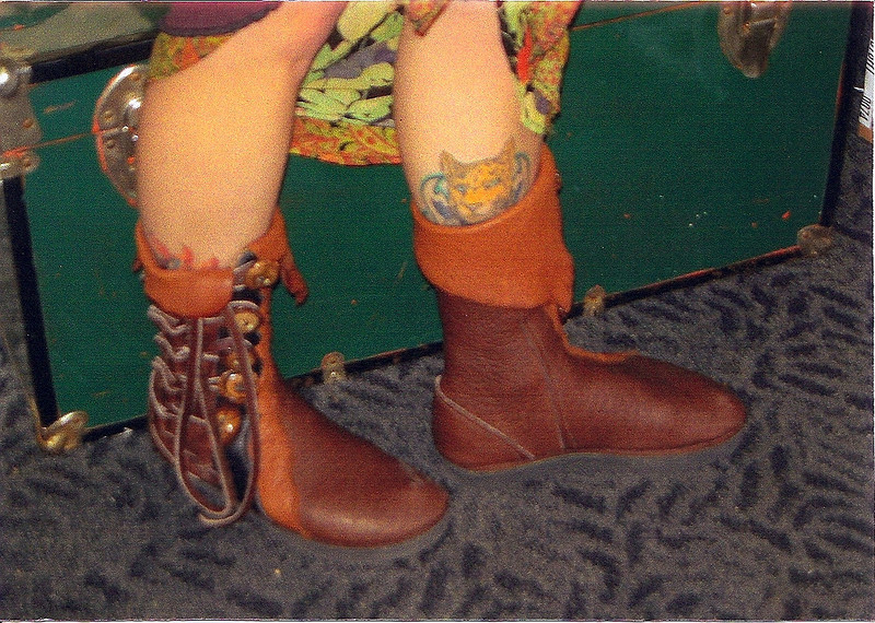 THE first pair of moccasins that I made for someone else... I love how her tattoo peeks out over the top.