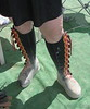 Playa dust collects fast - no harm though, as these beautiful boots will be washed as soon as they get home!<br /> Nine button moccasin, dome top without welting, dome to side.