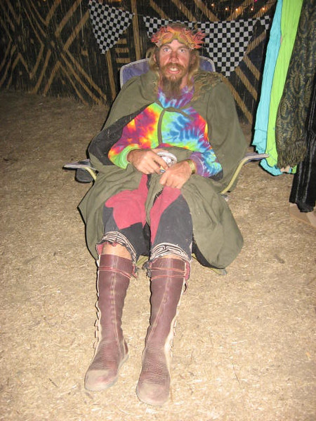 David, what a sweety!  Works hard and plays hard!  Sounds good to me!<br /> David's knee high moccasins have danced all around this year, from the Kate Wolf Festival to the Playa to EarthDance, happy feet all the way..