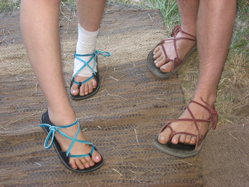 Happy feet!  Two tab sandals.