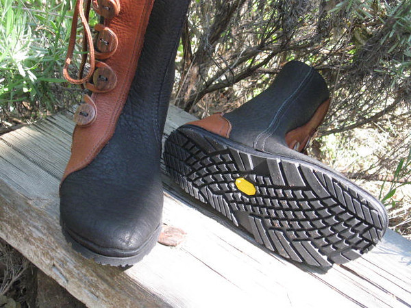 Lydia's 5 Button Moccasins are soled in the Vibram New Sole.  She prefers a thin soling, but wanted enough traction for hiking.  This soling is thin, flexible, and has good grip.  Not as agressive as the Kletterlift, so dancing is still an option!