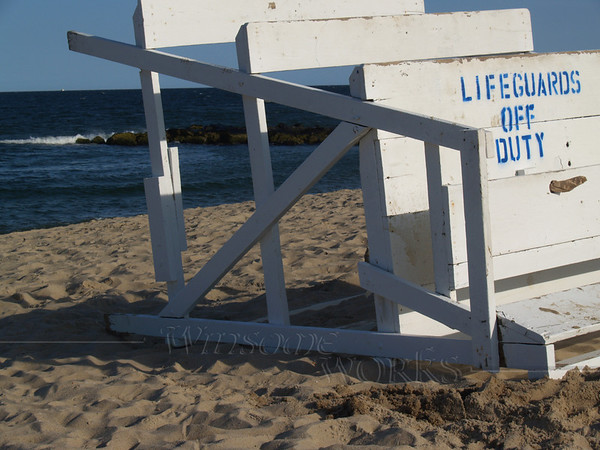 Sign on lifeguard stand at Ocean Grove, NJ