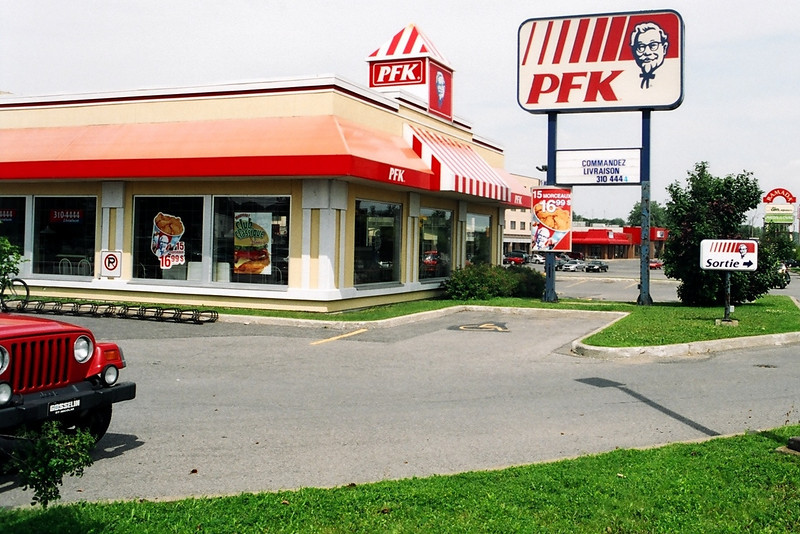 Look! It's the KFC!-- oops, wait, the PFK (Poulets Frites Kentucky) seen in Quebec.