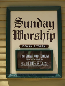 Sign on the Great Auditorium, Ocean Grove