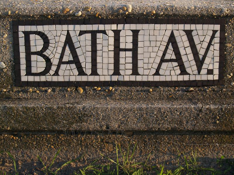 Old Mosaic Street Sign near Beach in Ocean Grove, NJ
