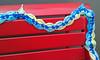 Yarn bombing on bench in Art Alley - Goshen, IN
