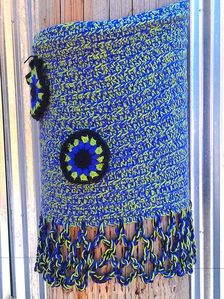 Yarn bombing on a telephone pole - Art Alley, Goshen IN