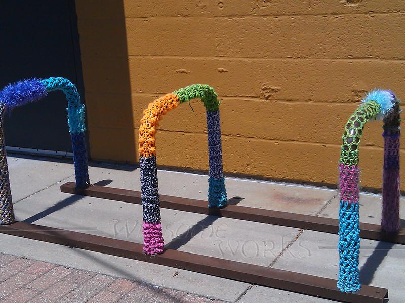 Yarn bombed bike rack in Art Alley - Goshen, IN