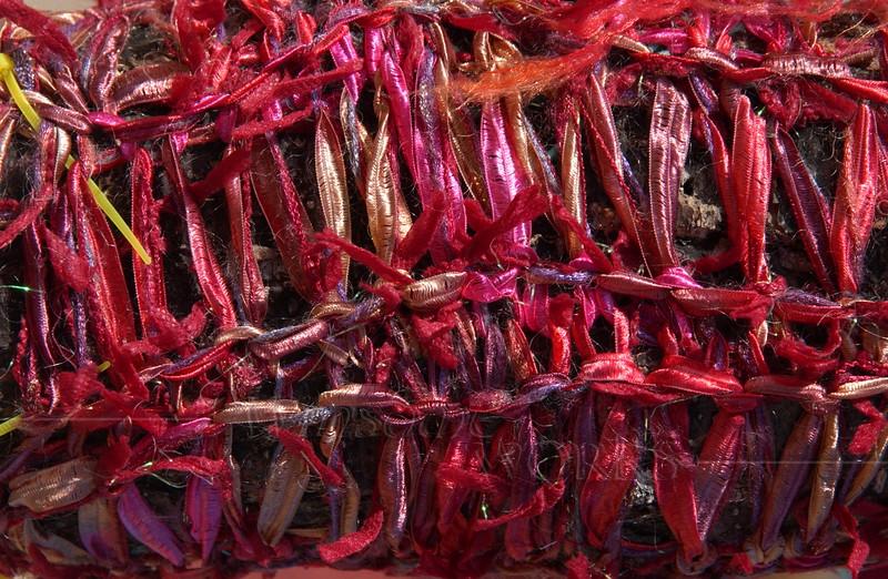 Yarn-bombed tree closeup