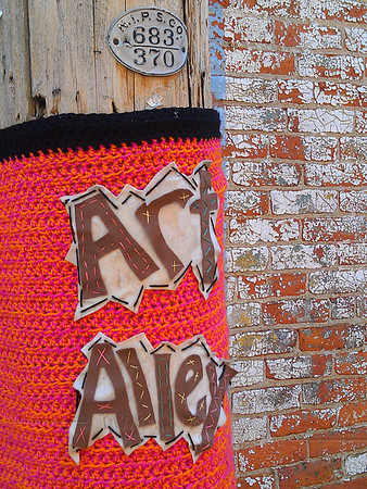 Yarn bombed telephone pole in Goshen, IN  - 5/17/2012