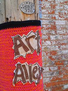 Yarn bombed telephone pole in Goshen, IN  - 5/17/2012