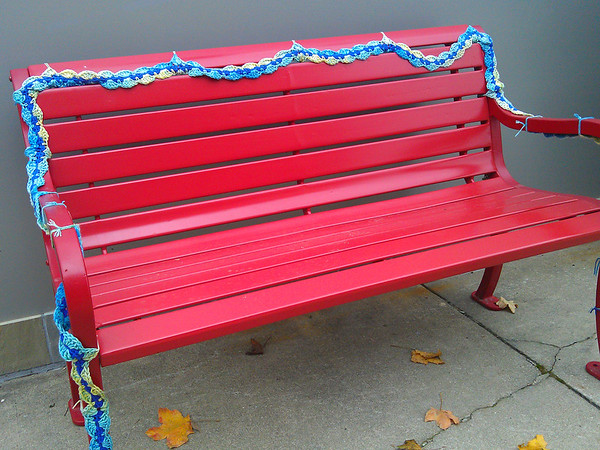 Yarn bombing in Art Alley - Goshen, IN